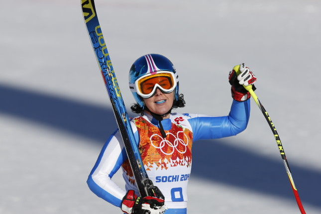 SOCHI, RUSSIA - FEBRUARY 12: (FRANCE OUT) Daniela Merighetti of Italy competes during the Alpine Skiing Women's Downhill at the Sochi 2014 Winter Olympic Games at Rosa Khutor Alpine Centre on February 12, 2014 in Sochi, Russia. (Photo by Alain Grosclaude/Agence Zoom/Getty Images)